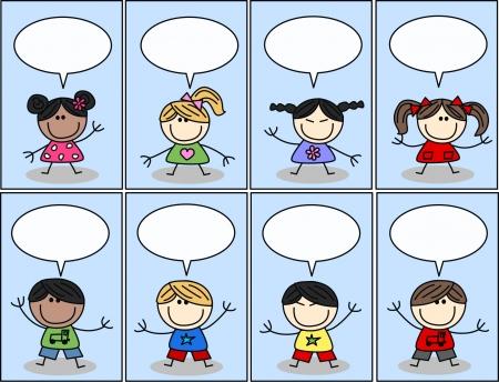 mixed etnic children with speech bubbles Illustration