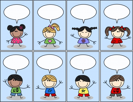 mixed etnic children with speech bubbles Иллюстрация