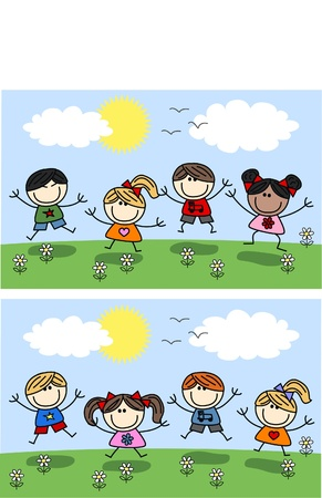 happy children spring summer Vector