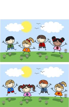banner of peace: happy children spring summer
