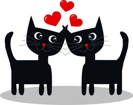 free images stock: two cats in love Illustration