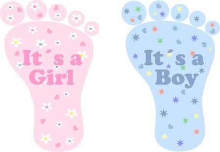ベビー シャワーの少年少女の新生児  イラスト・ベクター素材