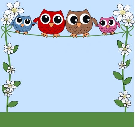 cartoons sweet: celebration or invitation owls