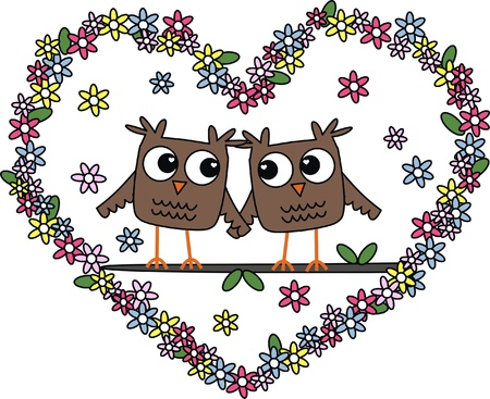 love wedding Valentines day owls Vector