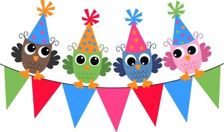 幸せな誕生日のフクロウ  イラスト・ベクター素材