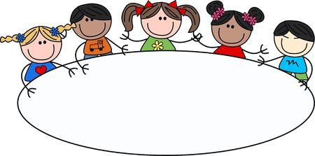 mixed ethnic children header event Vectores