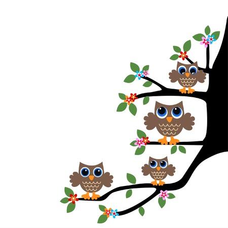 v�gelchen: Eule Familie oder Team Illustration