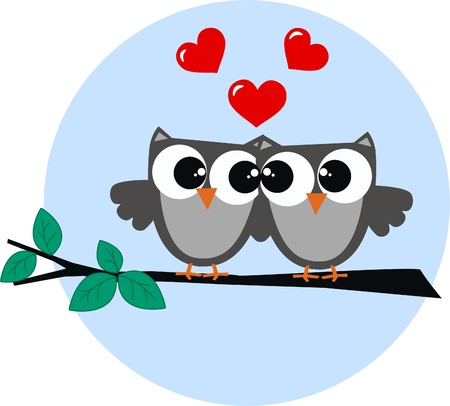 birds: two owls in love Illustration