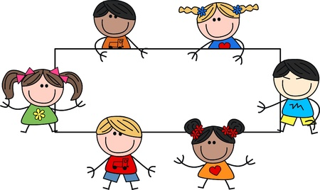 happy children: mixed ethnic children header placard