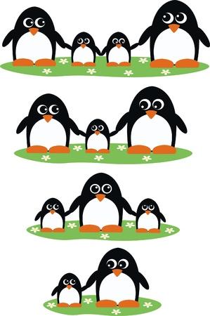 cartoons sweet: penguin penguins family header Illustration