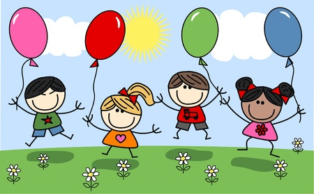 mixed ethnic children with balloons Vector