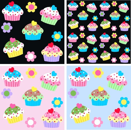 seamless cupcake pattern background