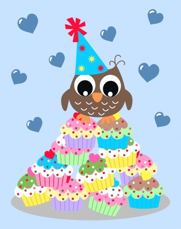 smart card: happy birthday or baby shower owl