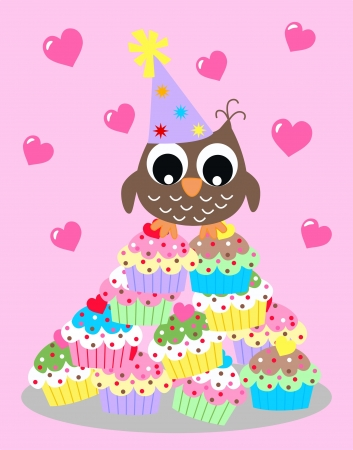 happy birthday or baby shower owl Vector