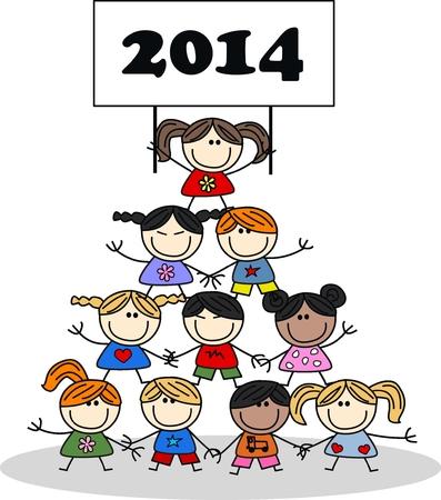 2014 年をカレンダーします。  イラスト・ベクター素材