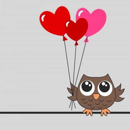 owl illustration: happy birthday, baby shower or valentines day Illustration