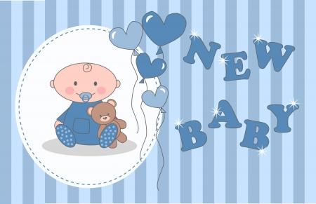 fiúk: baba zuhany vagy születésnapi Illusztráció