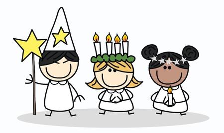 Santa Lucia zweedse kerst traditie Stock Illustratie
