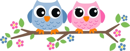 two sweet owls sitting on a branch Illustration