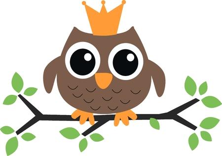 principe: un dolce piccolo gufo marrone con una corona Vettoriali