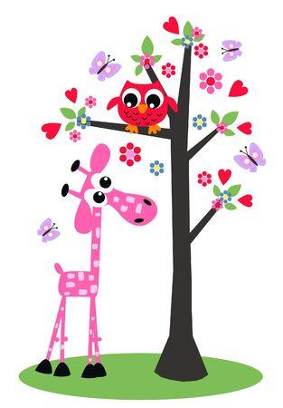 love cute: owl and giraffe design