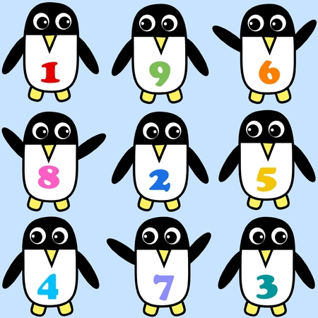 penguins in different patterns  Vector
