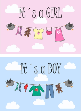 baby shower or newborn baby announcement Vector