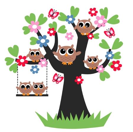 aves caricatura: cabecera del árbol de familia junto flores Vectores