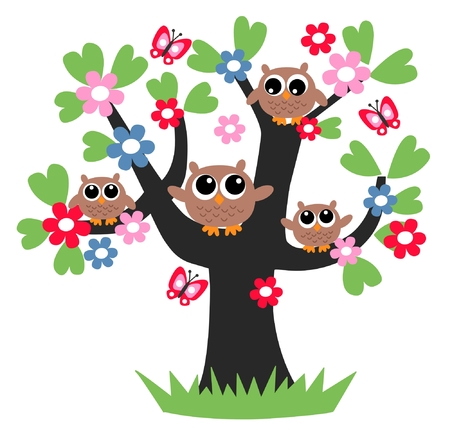 owl symbol: family tree together flowers header Illustration