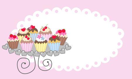 cupcake plate happy birthday Vector