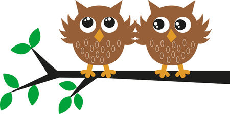 two sweet brown owls  Vector