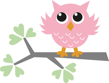 owl on branch: a sweet little pink owl