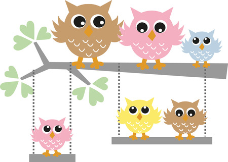 tock illustration: owl family tree colorful