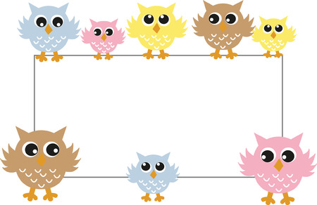 owl illustration: a header with colorful sweet owls