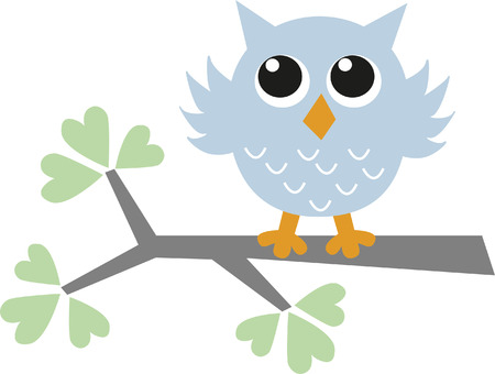 a sweet little blue owl Vector