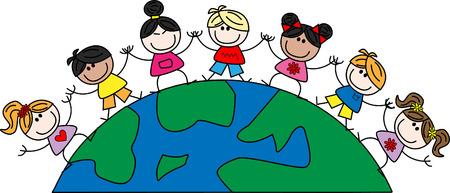 cartoons sweet: mixed ethnic children freedom peace Illustration