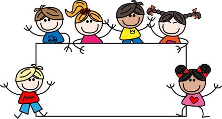 gemengde etnische kinderen met een groot plakkaat Stock Illustratie