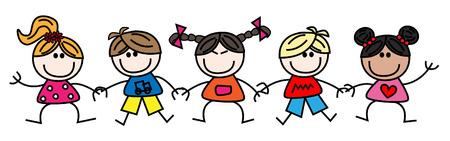 cartoon mensen: gelukkige gemengde etnische kinderen