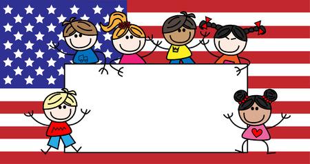 混合: 混合民族の子供たちにアメリカ国旗