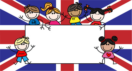 mixed ethnic children great britain british flag Ilustração