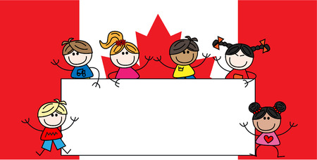canadian flag: mixed ethnic children canadian flag