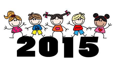 混合: 混合された民族子供 2015年カレンダー  イラスト・ベクター素材