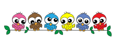 colorful sweet owls  Vector