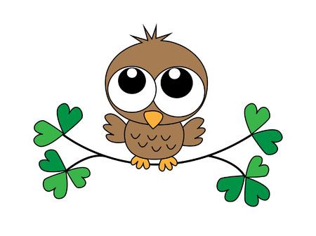 a sweet little baby owl Vector