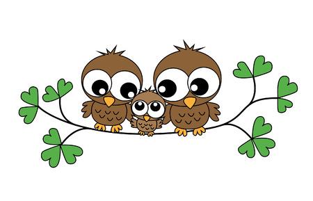 cartoons sweet: a sweet little owl family Illustration