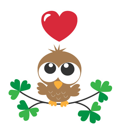 a sweet little brown owl love Vector