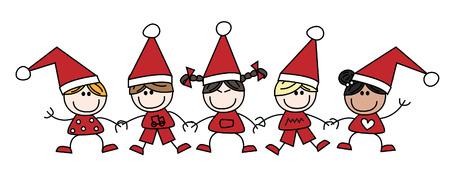 asian friends: merry christmas mixed ethnic children