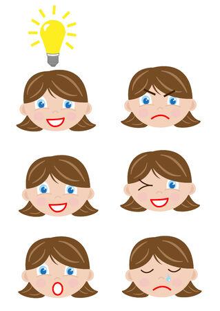 flirty: ragazza affronta le icone Vettoriali