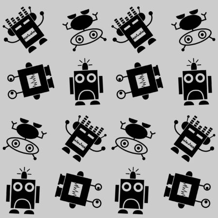 seamless robot pattern background Vector