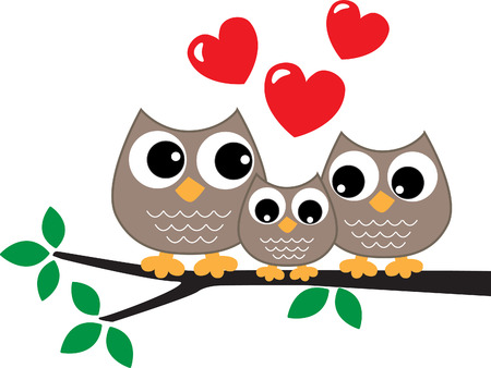 animals together: a sweet little owl family love Illustration